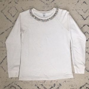 Jcrew beaded neckline sweatshirt